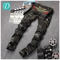 Stock cargo camouflage jeans men biker jeans