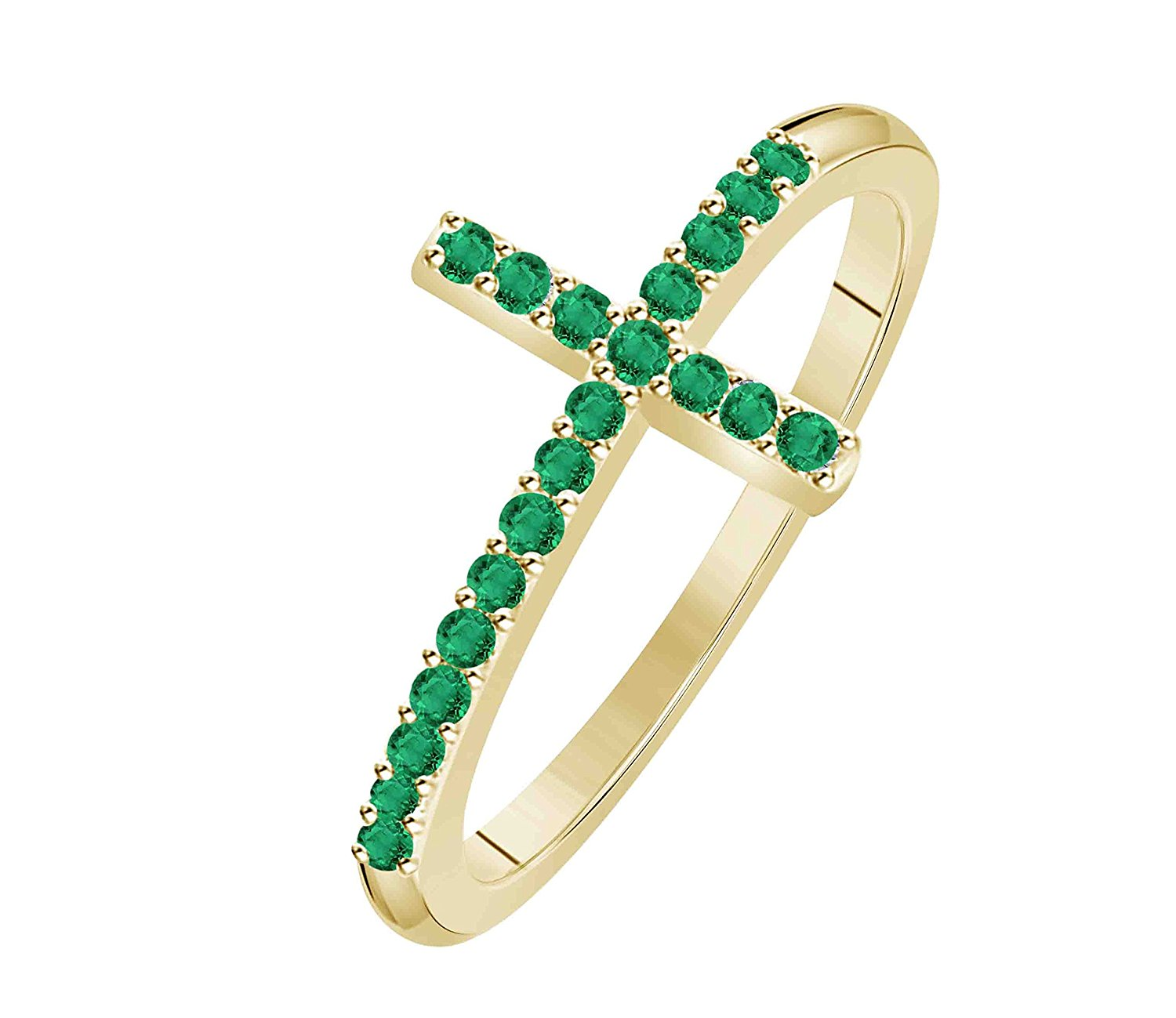 Hot Sale !!! Women's Cross Lab Created Green Emerald Thin Stackable 14K Yellow Gold Plated Sideways Cross Ring (Size 4 - 11)