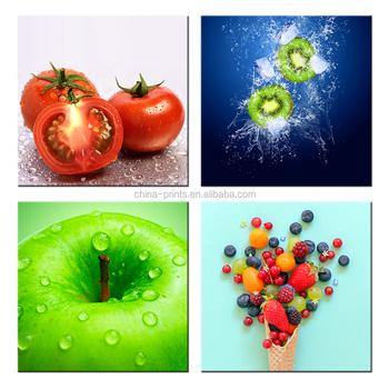 4 Adet Taze Meyve Görüntüleri Tuval Baskılar Kivi Ve Berry Tuval
