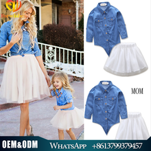2017 parent-child outfit european style mother and daughter denim coat+tutu dress 2 pcs mommy and me family clothes set