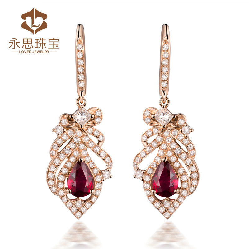 e76c7ac5f79 Eye catching natural stone earrings blood red ruby diamond jewelry in 18K rose  gold SE0334