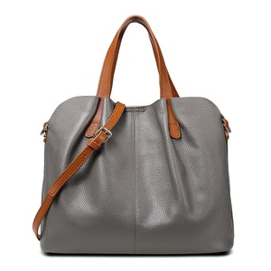 Fashion Simple Large Capacity Bucket Shoulder Bag Women Genuine Leather Tote Bag