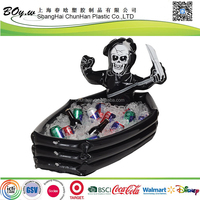factory wholesales drinking food cooler coffin hallowas celebration pvc skull pirate inflatable ice bucket