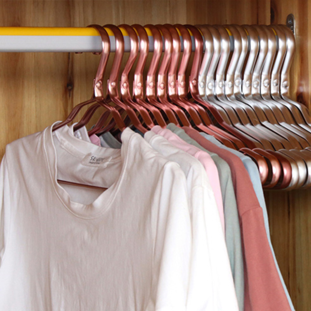 Classico Tie Rack Belt Scarf and Purse Holder Collapsible Rose Gold Metal Hanger For clothing drying