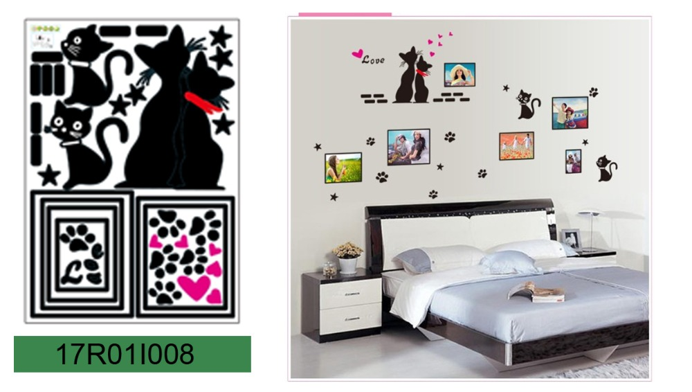 Romantic Love Cats Picture Photo Frame Wall Decals, Living Room Bedroom Removable Wall Stickers Murals