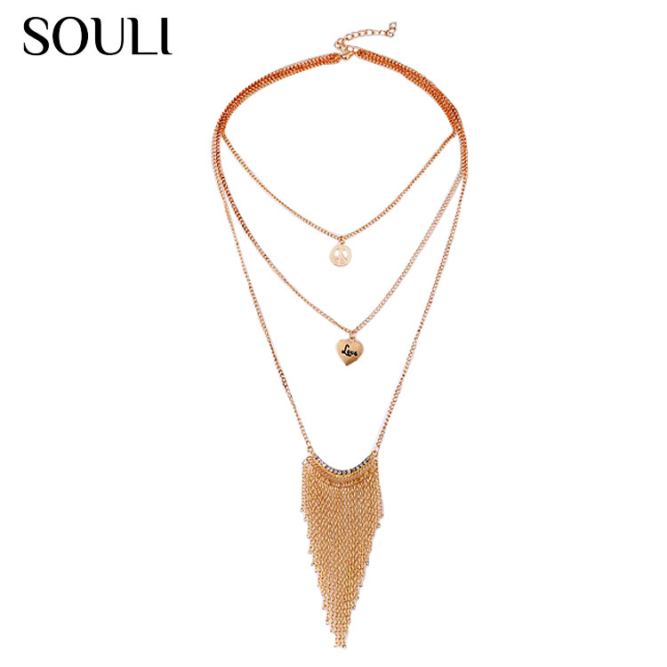 Personality fashion jewelry antiwar peace symbol heart crystal tassel necklace