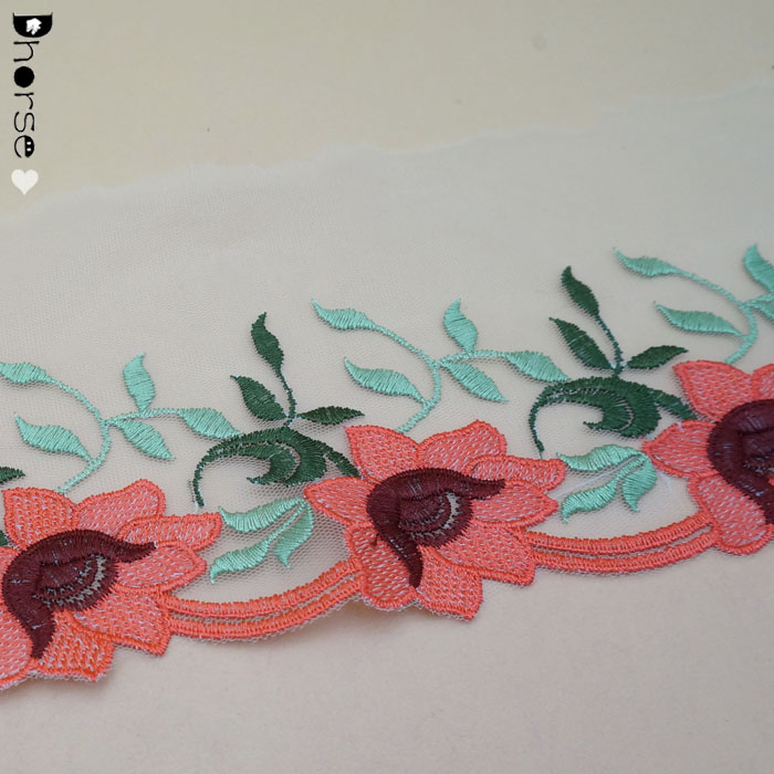 "5"" Wide Elegant Pink Flower Colored Embroidery Ploy Tulle Lace Trim"