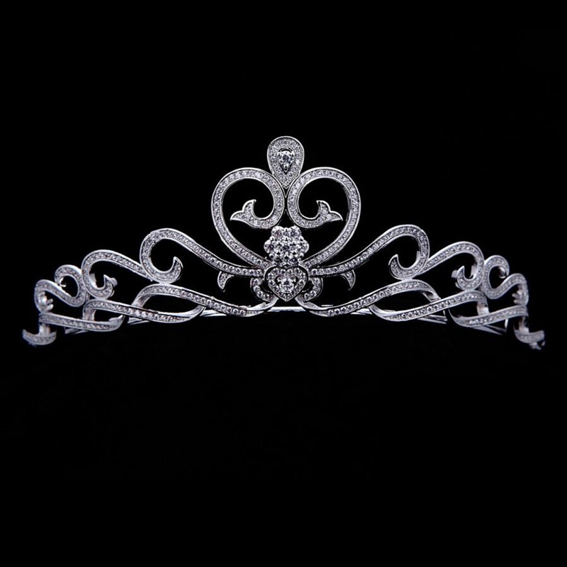 Swirl Amore Cuore Tiara Zircone Cubico Little Miss Pageant Corone Award