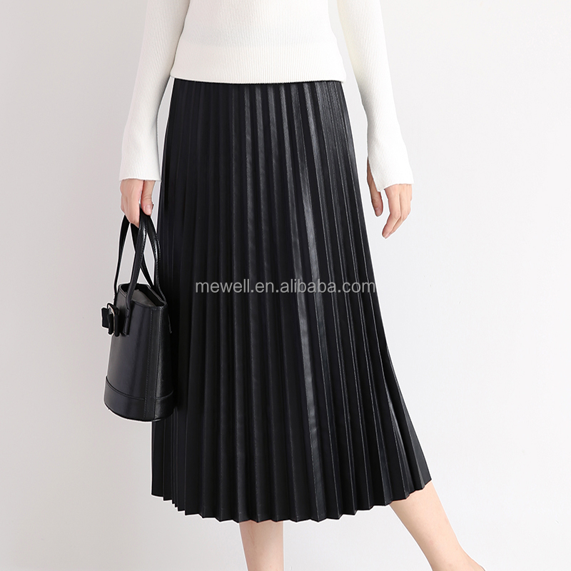 Classic Woman Black A-line Long Skirt Real leather Pleated Skirt