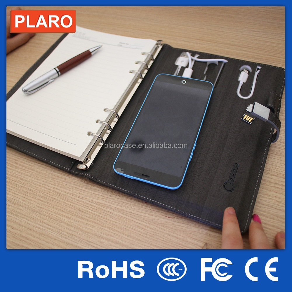 2016 Latest Unique Electronic Gift Idea Item PU Notebook with Power Bank and USB