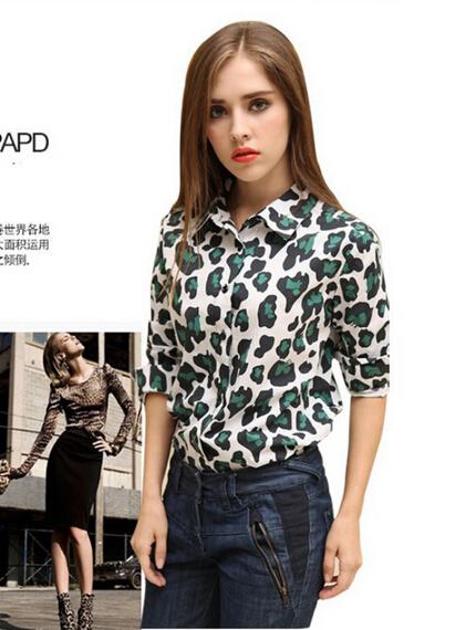 2442b0d495 New fashion Women Wild Leopard print chiffon blouse lady sexy Long-sleeve  Blouses loose plus size Turn-down neck leopard blouse