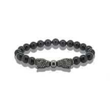 Natural Black Agate Round Stone Beads Men Bracelet Charm Rose Gold Silver Gold Plated Green Eyes Leopard Head Women Bracelets