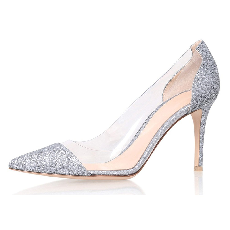 f6049ad7b6 Get Quotations · Eldof Womens High Heel PVC Pumps   8CM Pointed Cap Toe  Transparent PVC Stilettos   Wedding