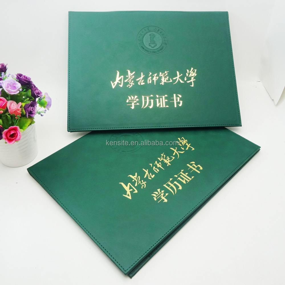 customized green pu leather graduation diploma cover