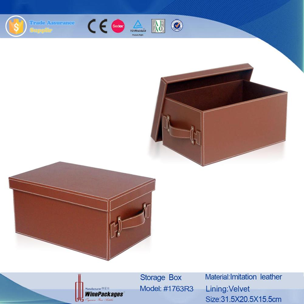 Imitation leather storage box with lid