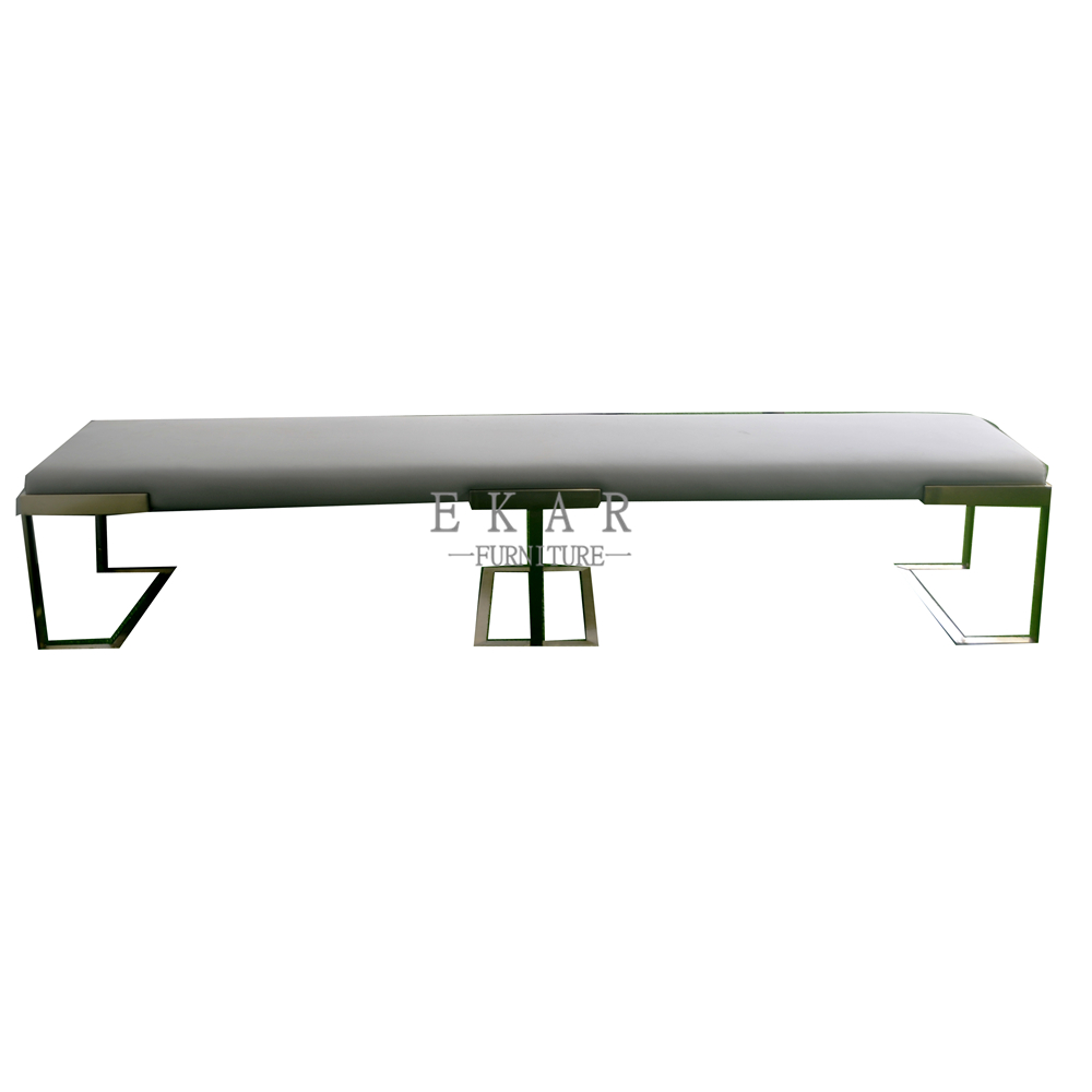Fabric Upholstered Metal Base Modern Bench And Leisure Chair