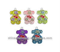 wholesale fashion cheap loose colorful bear pendant for necklace