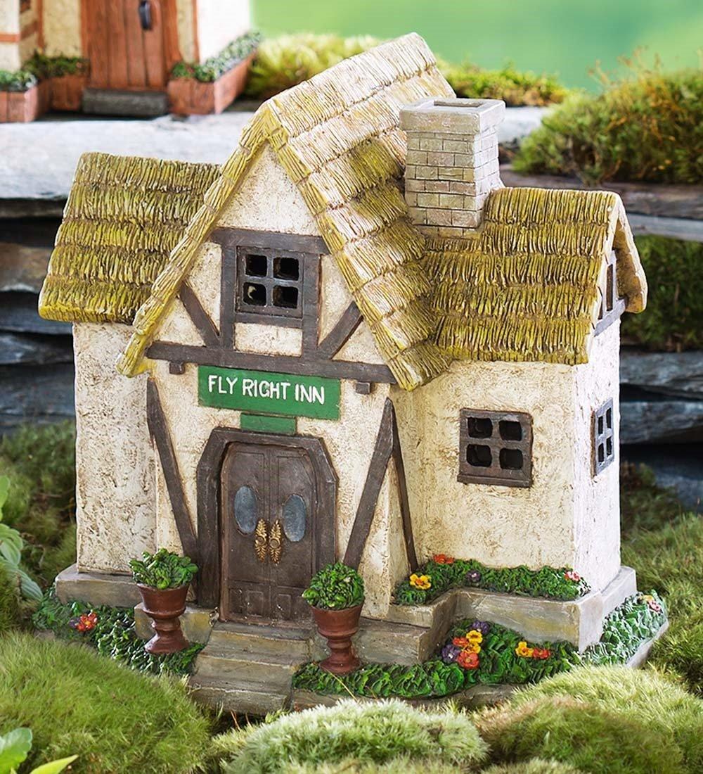 Plow & Hearth 57347 Solar Powered Miniature Fairy Inn Outdoor Garden Statue