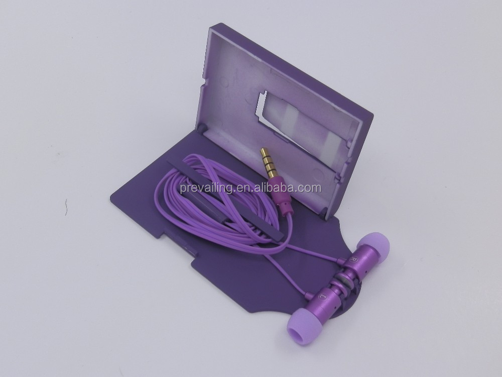 Mini metal earphone with M/C, with back-mounted holder, hands free talk,