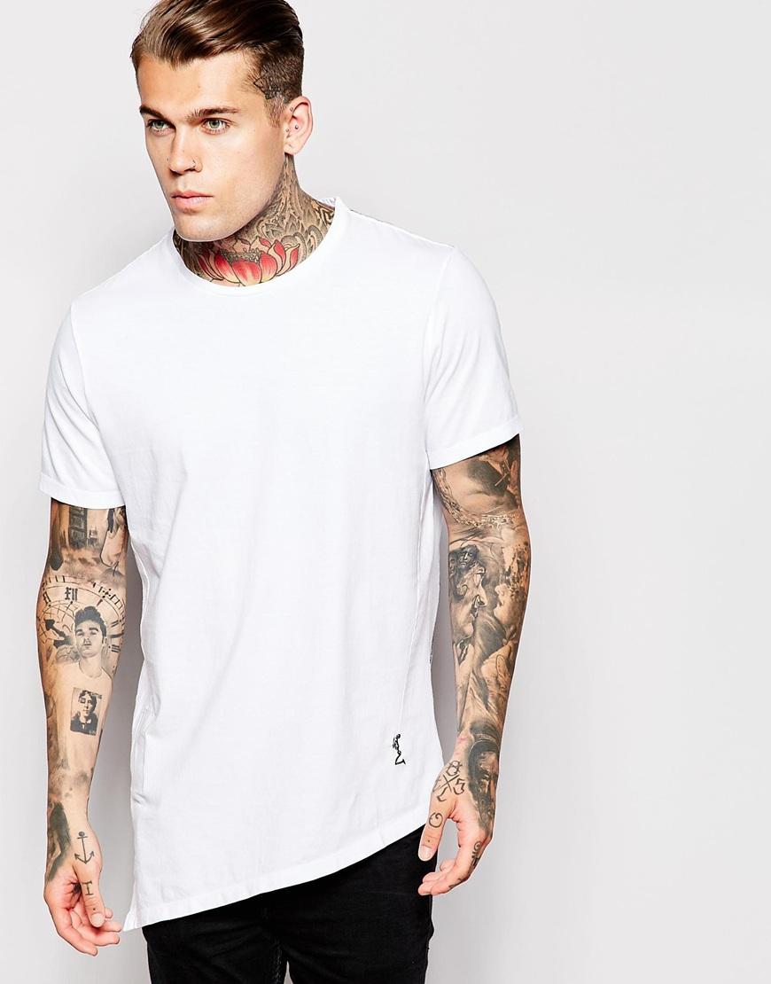 Cotton Longline Asymmetric Hem T-shirt,Stylish Longline Cut T ...