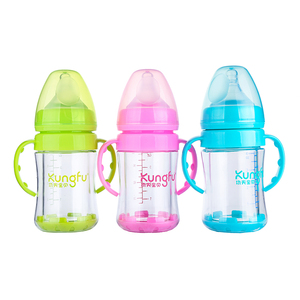Wide neck food grade baby products BPA free glass Feeding Bottle with holder