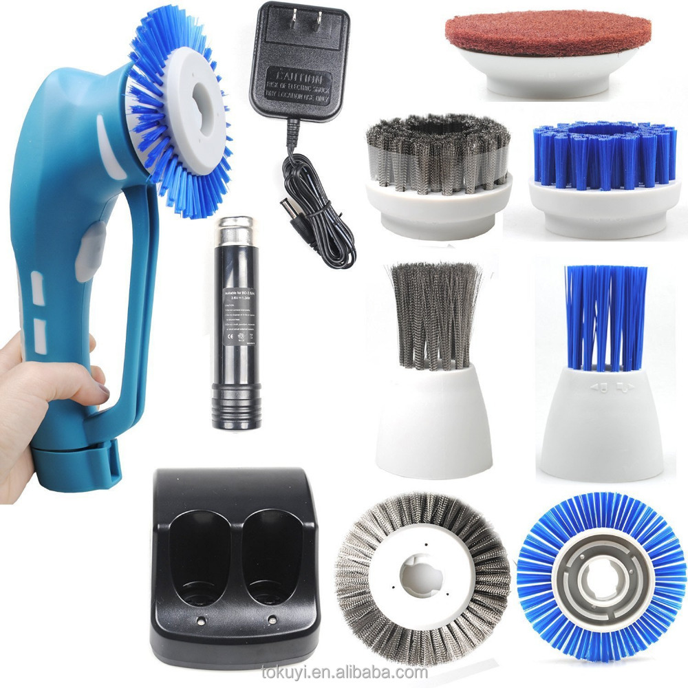 Hand Held Cordless Power Scrubber With Rechargeable Batteries,Cleaning Spin Brush