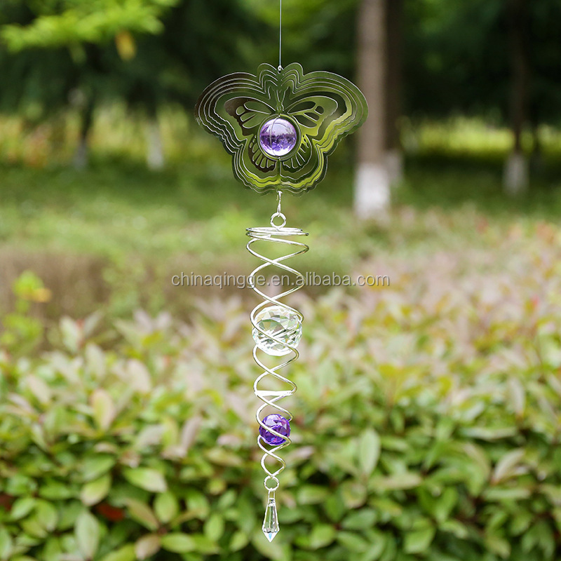 3D Dekoratif Spiral Logam Angin Spinner Outdoor