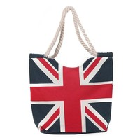 2015 shopping tote UK flag canvas beach bags with rope handle