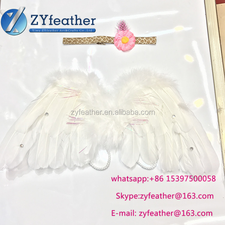 Wholesale baby Newborn Feather Angel Wing Photography Prop with Matching Bow Headband Angel Baby Wing