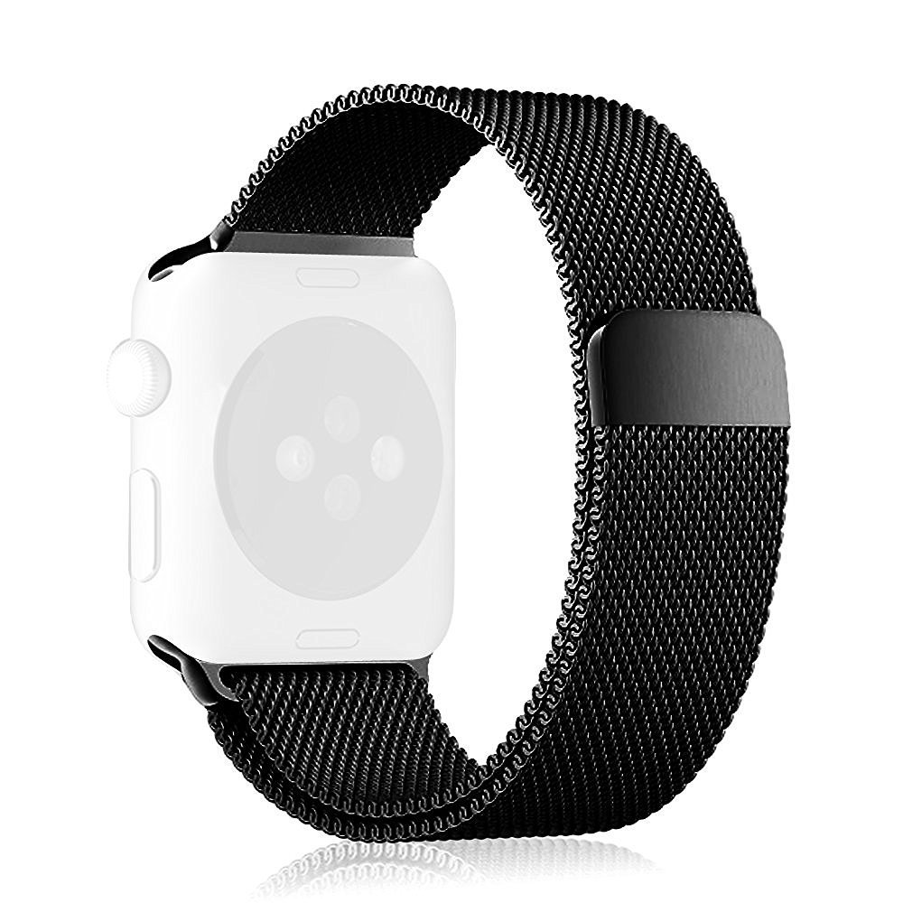 Apple Watch Band, [Unique Magnet Lock] Fintie 42mm Milanese Loop Stainless Steel Bracelet Smart Watch Strap for Apple Watch Series 1 Series 2 42mm All Models, No Buckle Needed (Black)