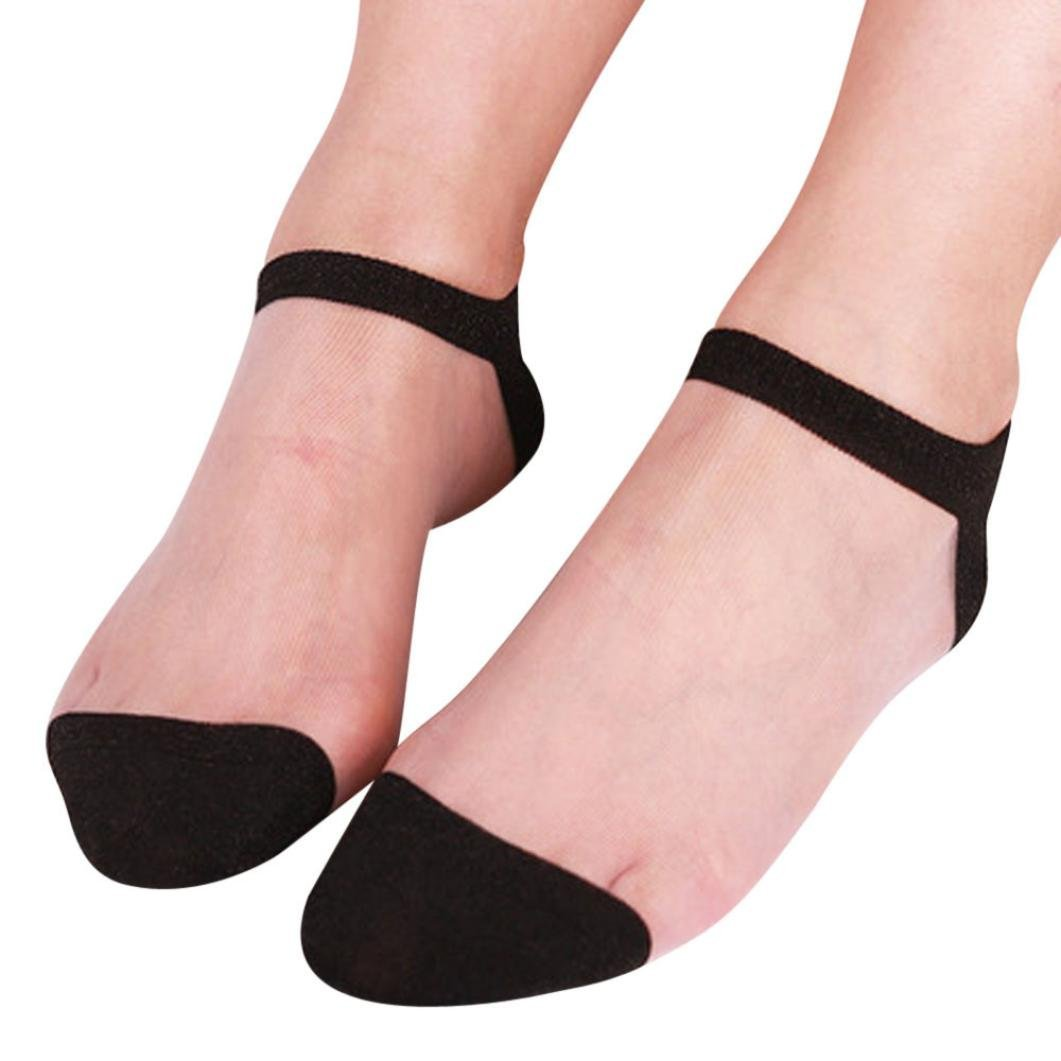 f94499d51cc Get Quotations · BCDshop Women Summer Socks Ladies Sheer Transparent Silky  Socks Short Stockings Ankle Socks (Black 1