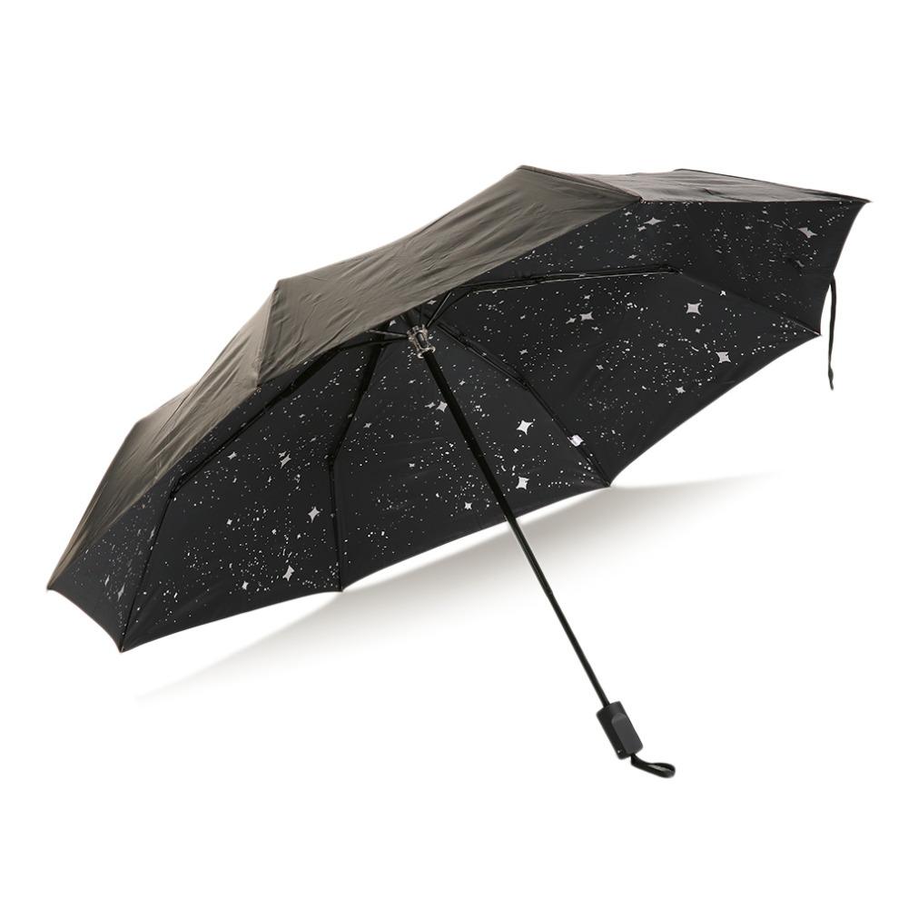2016 Высокое Качество Ручной Компактный Мода Складной Дождь Зонтик УФ-Защита Ветрозащитный Черный Солнечный и Дождливый Зонтик звездное небо