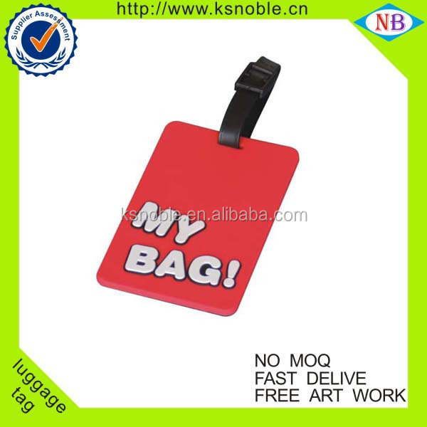 Custom embossed logo soft pvc travel red luggage tag