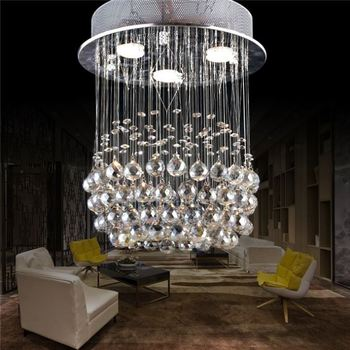 Luxury Droplights Chandeliers Art Deco For Stair Case Rings Crystal Chandelier