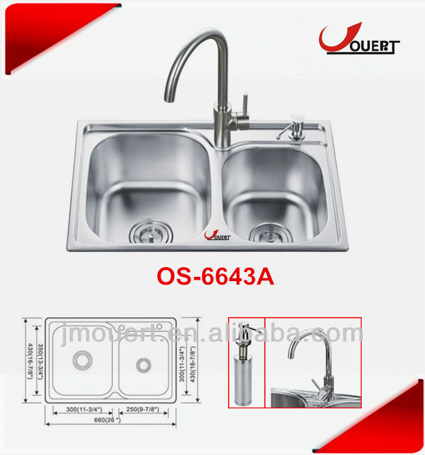 OS-6643A Topmount Sinks On Granite Countertop,Topmount Sink Over Tile