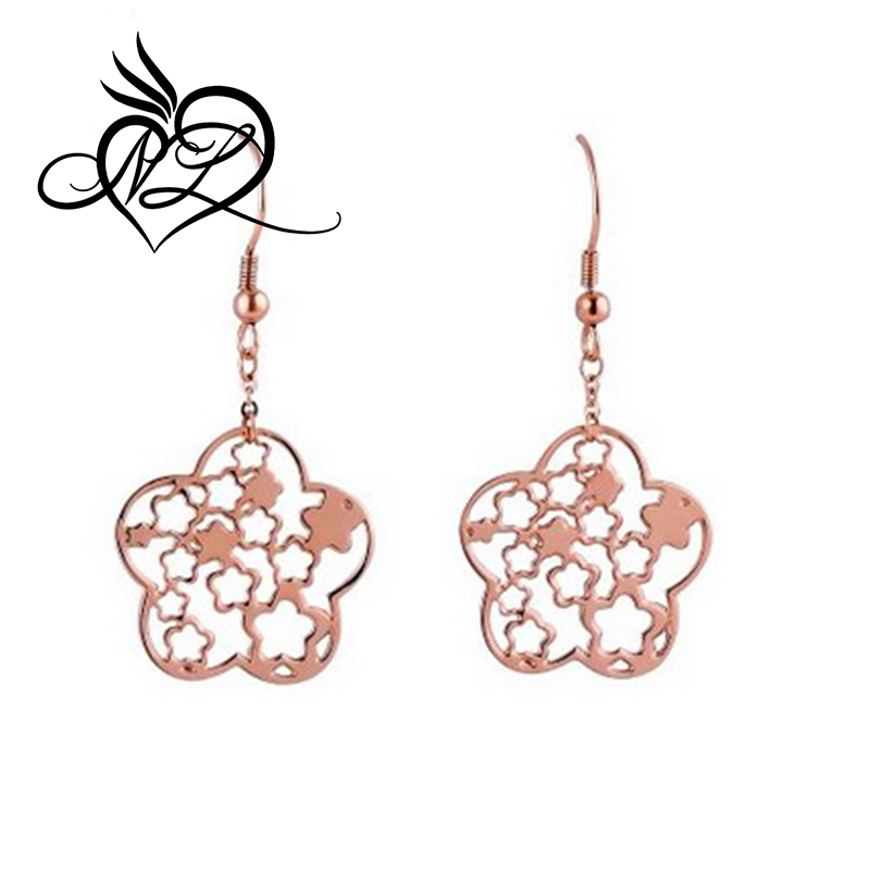 Women's 316l Stainless Steel Rose Gold Flower Long Dangle Stud Earrings for Women It Is Beautiful Earrings