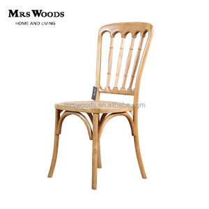 Spindle back solid wooden rattan seat oak dining chair