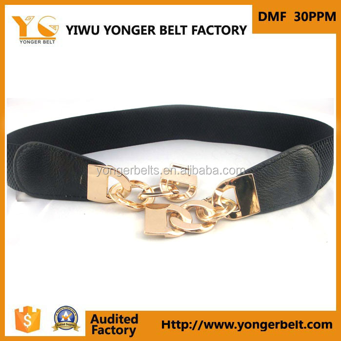 Metal Buckle Skinny Fashion Black New Style Ladies Stretch Elastic Belt For Woman