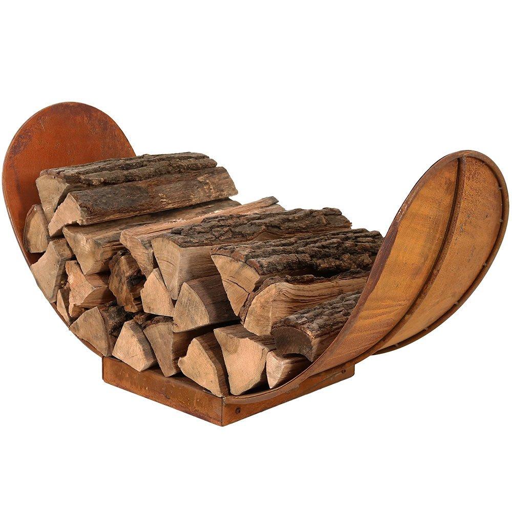 Sunnydaze 3-Foot Firewood Log Rack, Outdoor Fireplace Wood Stacker Storage Holder, Rustic