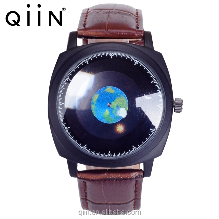 QU0321 Newest Leather Watch with dial rotating watch