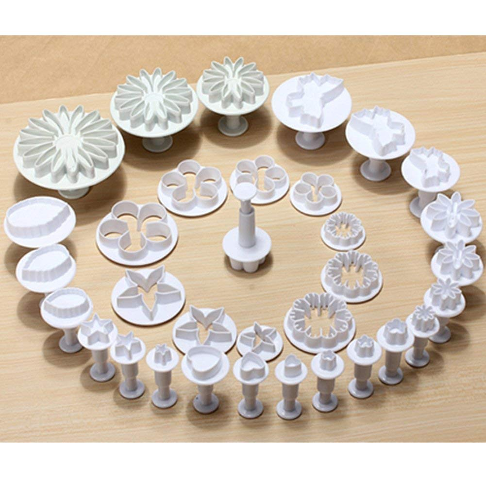 33pcs Plunger Fondant Cutter Cake Tools Cookie Biscuit Cake Mold Mould Craft DIY 3D Sugarcraft Cake Decorating Tools Flower Set