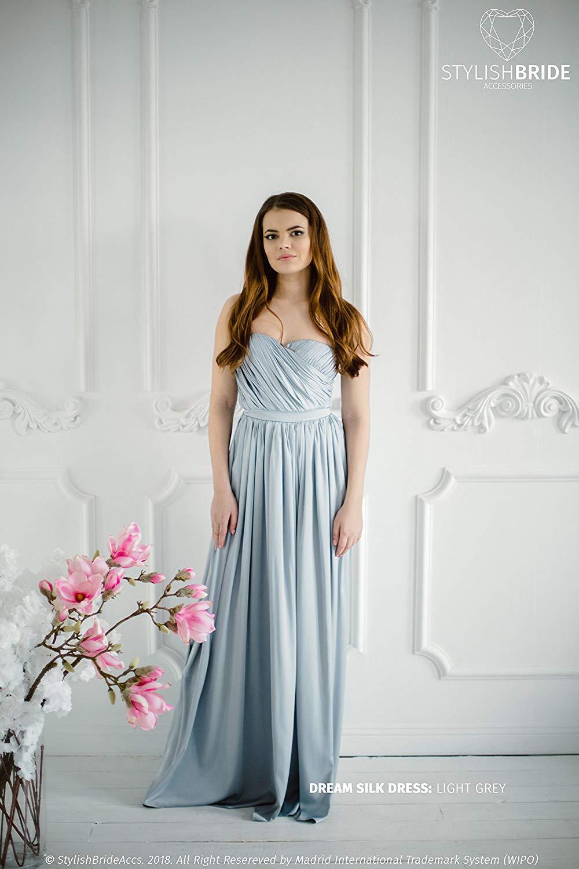 ed6e3e253fea8 Get Quotations · Dream Bridesmaid Silk Satin Dress in Light Grey