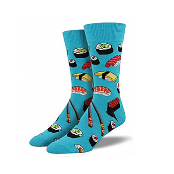 Custom fashion colorful funky socks men with sushi design