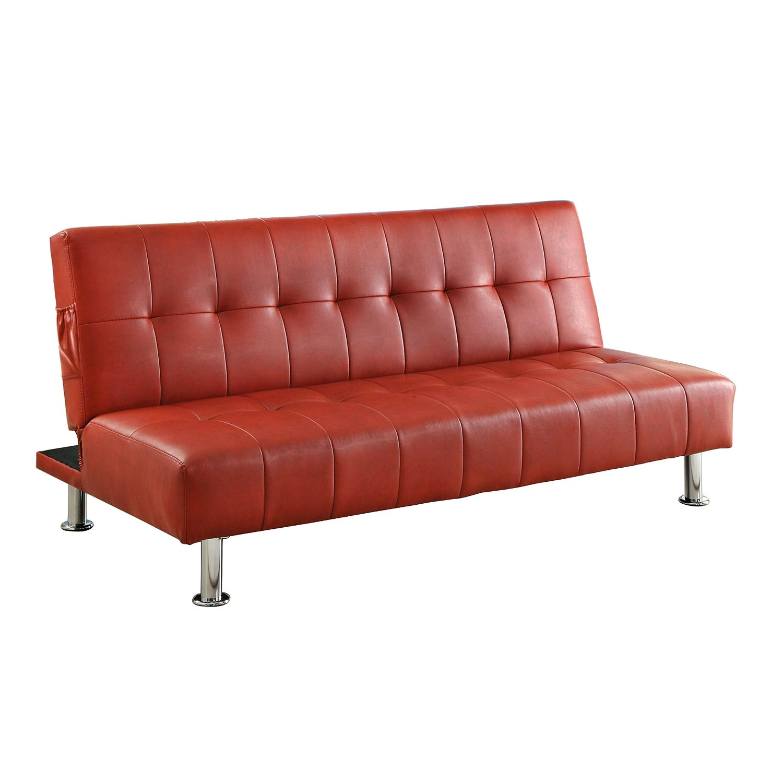 Get Quotations Pearington Leatherette Futon Sofa Bulle Red