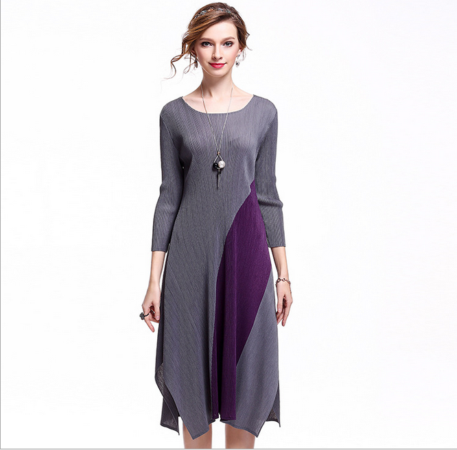 OEM women dress manufacturer Patchwork casual 3 / 4 Sleeve dress