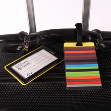 Multi coloful strip customized reusable acrylic luggage/suitcase name card tag