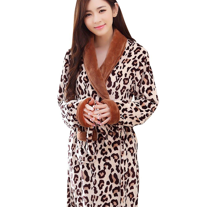 5f2458d1c56 Get Quotations · Fashionpjs Flannel Leopard Print Stylish Long Thermal Bathrobe  Robe for Women