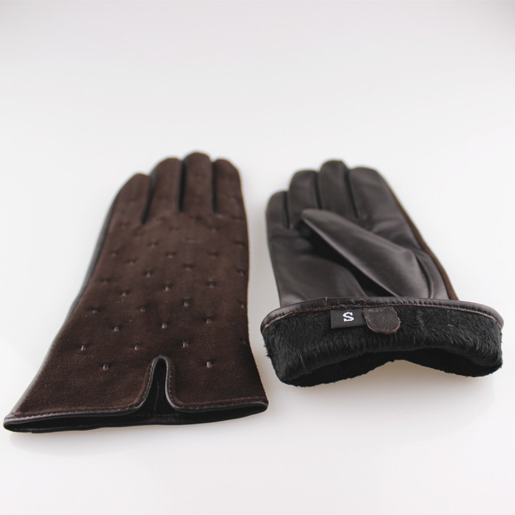 Women 's Brown suede leather gloves with Dot design