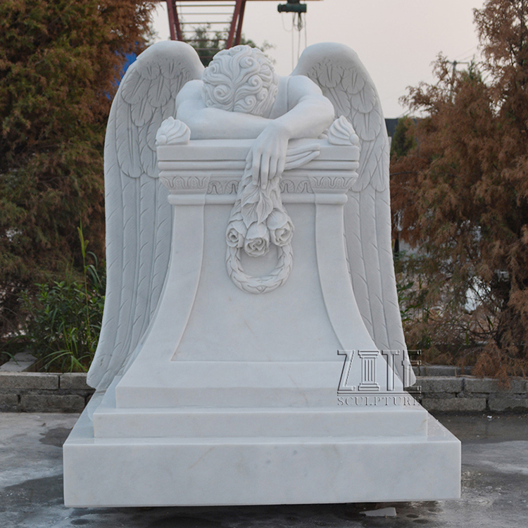 Custom white marble tombstone headstone life size weeping angel statues