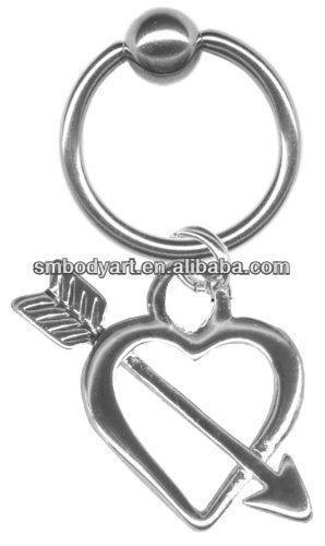 16 gauge Earring-Arrow Through my Heart Captive Ring-16 gauge 5 16 inch-Cartilage Earring-Tragus Jewelry SMSHBCR0027